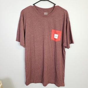 HUF maroon red and white pocket tee